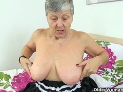 Plumper Granny Drilled by Young Studs Cock.